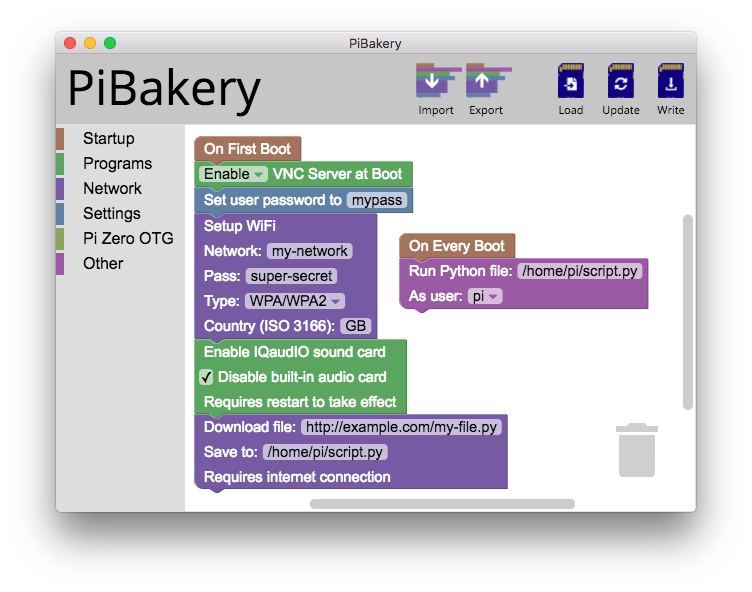 PiBakery demo screen